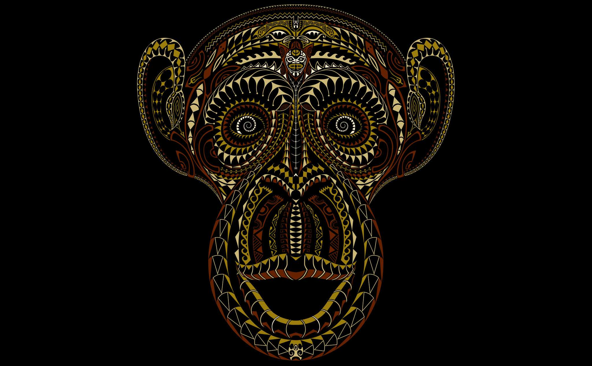 artwork tā moko monkey